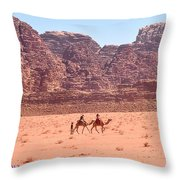 The Camel Riders Throw Pillow