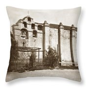 The Campanario, Or Bell Tower Of San Gabriel Mission Circa 1880 Throw Pillow