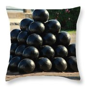 The Cannonballs At The Battery In Charleston Sc Throw Pillow