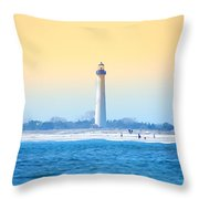 The Cape May Light House Throw Pillow