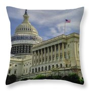 The Capitol Under Construction Throw Pillow
