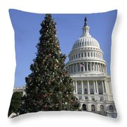 The Capitol Christmas Tree Is Decorated Throw Pillow