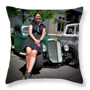 The Car Hop And The Street Rod Throw Pillow