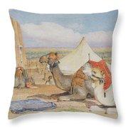 The Caravan, An Arab Encampment At Edfou Throw Pillow