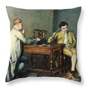 The Card Game Throw Pillow