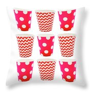 the Card with Red paper disposable glass in polka dot and zigzag isolated on white with copy space Throw Pillow