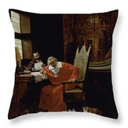 The Cardinal's Leisure  Throw Pillow by Charles Edouard Delort