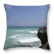 The Caribbean Sea Is Seen From A Rocky Throw Pillow