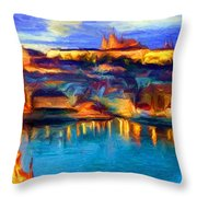 The Castle And The River Throw Pillow