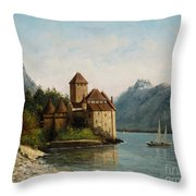 The Castle Of Chillon Evening Throw Pillow by Gustave Courbet