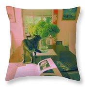The Cat And The Hydrangea Throw Pillow