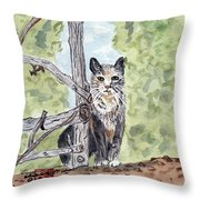 The Cat At The Fence Throw Pillow