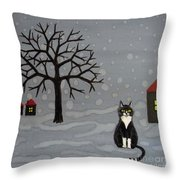 The Cat Is Waiting  Throw Pillow