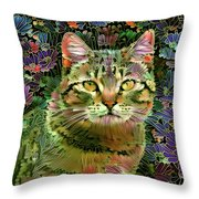The Cat Who Loved Flowers 1 Throw Pillow