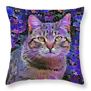 The Cat Who Loved Flowers 3 Throw Pillow