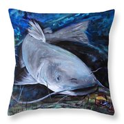 The Catfish And The Crawdad Throw Pillow