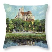 The Cathedral At Auxerre Throw Pillow