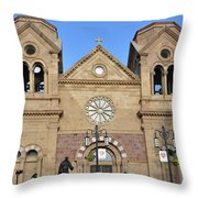 The Cathedral Basilica Of St. Francis Of Assisi, Santa Fe, New M Throw Pillow