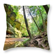 The Caves And Trail At Old Man's Cave Hocking Hills Ohio Throw Pillow