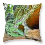 The Caves At Old Man's Gorge Trail Hocking Hills Ohio Throw Pillow