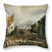 The Celebration In East Bergholt Of The Peace Of 1814 Concluded In Paris  Throw Pillow