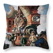 The Ceremony Of The Golden Spike On 10th May Throw Pillow
