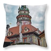 The Cesky Krumlov Castle Tower With A Fountain Below Within The Czech Republic Throw Pillow