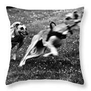 The Chasing Game. Ava Loves Being Throw Pillow