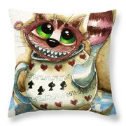 The Cheshire Cat - In A Teapot Throw Pillow