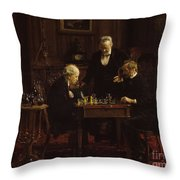 The Chess Players Throw Pillow