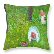 The Chestnut Gatherers Throw Pillow