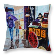 The Chestnut Seller Throw Pillow