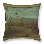 The Cheyenne Brothers Returning From Their Fall Hunt Throw Pillow