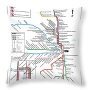 The Chicago Pubway Map Throw Pillow