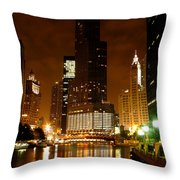 The Chicago River At Night Throw Pillow