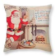 The Christmas Spirit Vintage Card Santa Next To Fireplace Throw Pillow
