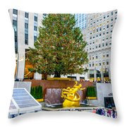 The Christmas Tree At Rockefeller Center New York City Throw Pillow