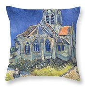 The Church At Auvers Sur Oise Throw Pillow