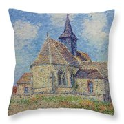 The Church At Porte-joie On The Eure By Gustave Loiseau Throw Pillow