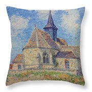 The Church At Porte-joie On The Eure Throw Pillow