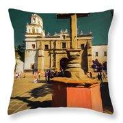 The Church Of San Juan Bautista Of Coyoacan 2  Throw Pillow