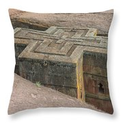 The Church Of St. George In Lalibela, Ethiopia Throw Pillow