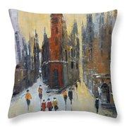 The City At Sunset Throw Pillow