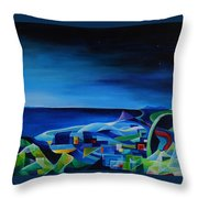The City At The Sea Throw Pillow