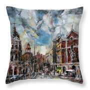 The City Touched By The Sunset Throw Pillow