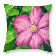The Clematis Flower Throw Pillow