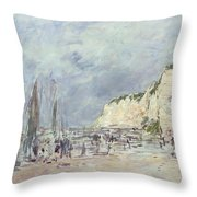 The Cliffs At Dieppe And The Petit Paris Throw Pillow by Eugene Louis Boudin