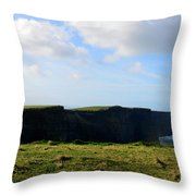 The Cliff's Of Moher In Ireland With Beautiful Skies Throw Pillow