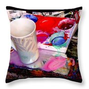 Mug And Palatte Throw Pillow
