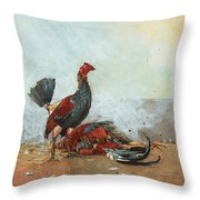 The Cock Fight Throw Pillow